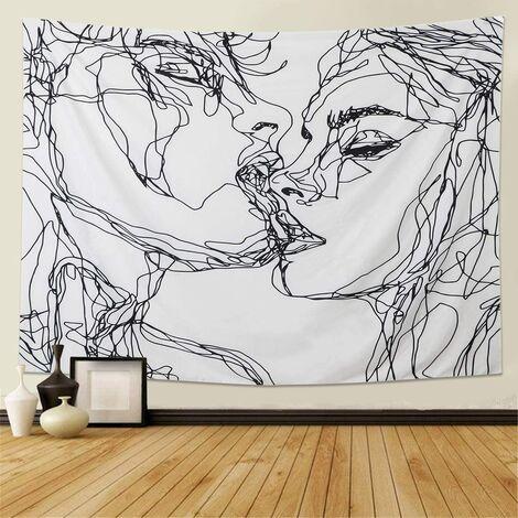 Hommes Femmes Soulful Résumé Croquis Tapisserie Murale Tapisserie d'amoureux s'embrassant Tapisserie Murale dortoir Chambre Salon (M/130cmX150cm)