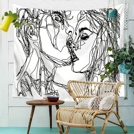 Hommes Femmes Soulful Résumé Croquis Tapisserie Murale Tapisserie d'amoureux s'embrassant Tapisserie Murale dortoir Chambre Salon (M/150*130)