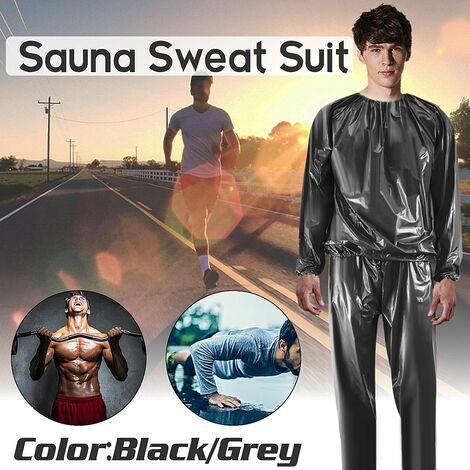 Hommes Femmes Sweat Suit Sauna Suit Exercice Gym Suit Fitness Perte de poids (noir, XXL)