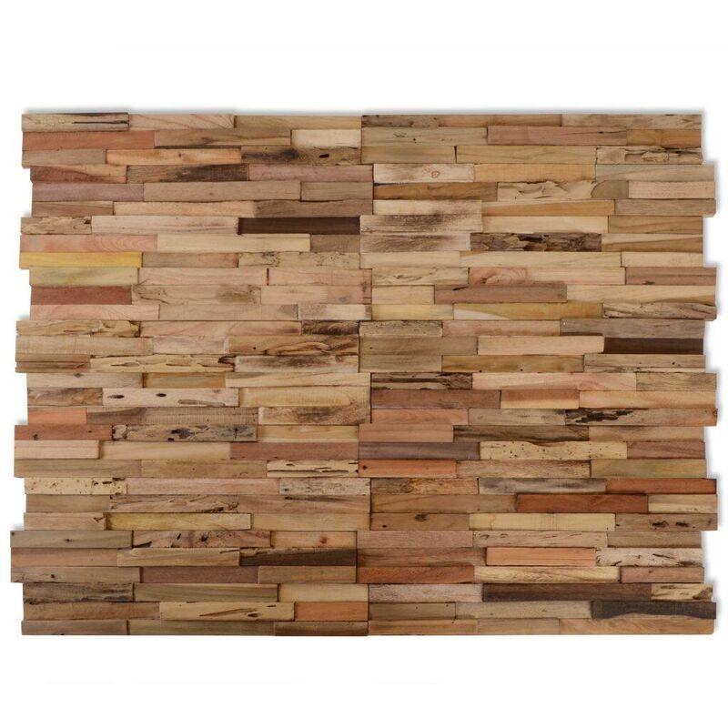 Image of 10 pcs Wall Cladding Panels 1 m2 Recycled Teak VD10616 - Hommoo