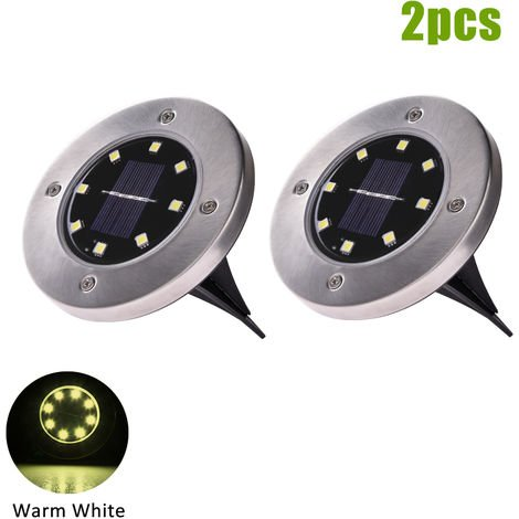 Hommoo 10 Piece 8 LED Solar Lawn Light In-ground Lamp