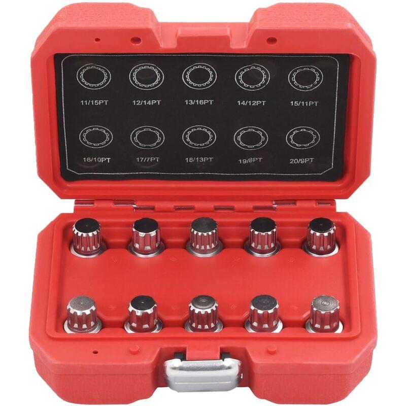 Image of 10 Piece Locking Wheel Nut Key Set for BMW QAH07923 - Hommoo