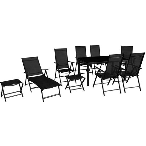 Hommoo 10 Piece Outdoor Dining Set Aluminium Black