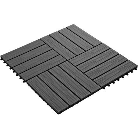 Hommoo 11 pcs Decking Tiles Deep Embossed WPC 30x30 cm 1 sqm Black QAH29188