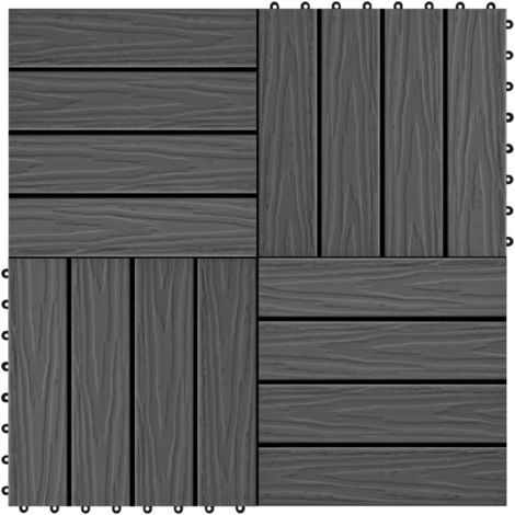 Hommoo 11 pcs Decking Tiles Deep Embossed WPC 30x30 cm 1 sqm Black VD29188