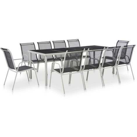Hommoo 11 Piece Outdoor Dining Set Steel and Textilene Black VD28894