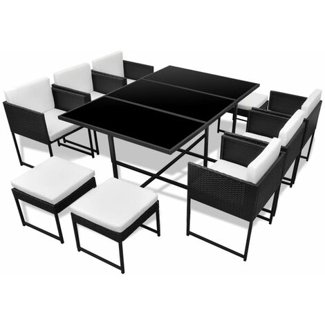 Hommoo 11 Piece Outdoor Dining Set with Cushions Poly Rattan Black QAH33989