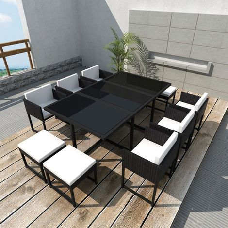 Hommoo 11 Piece Outdoor Dining Set with Cushions Poly Rattan Black VD33989