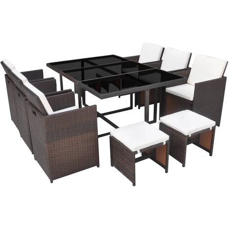 Hommoo 11 Piece Outdoor Dining Set with Cushions Poly Rattan Brown QAH33978
