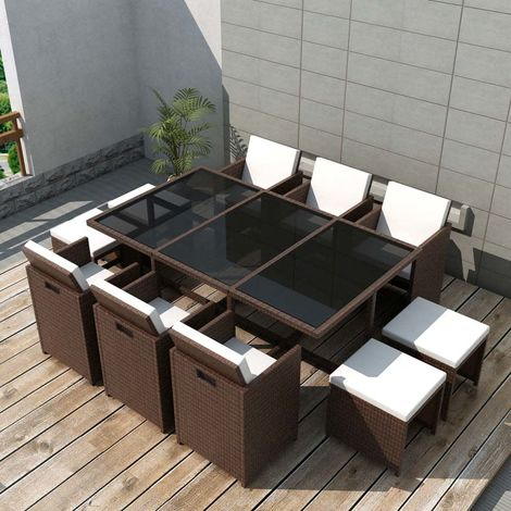 Hommoo 11 Piece Outdoor Dining Set with Cushions Poly Rattan Brown VD33978