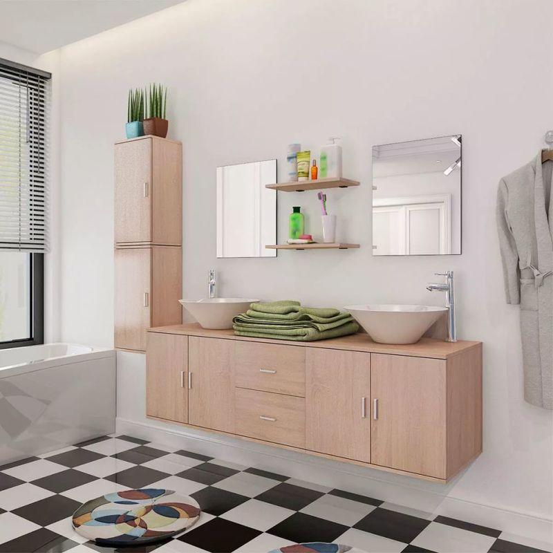 11-tlg. Badmöbel-Set mit Waschbecken und Wasserhahn Beige VD17076 - Hommoo