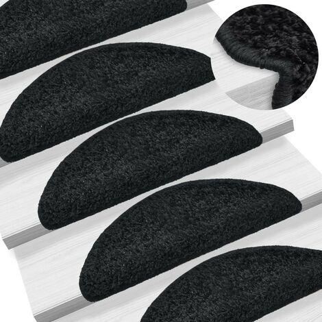 Hommoo 15 pcs Tapis d'escalier Noir 65 x 25 cm HDV02817