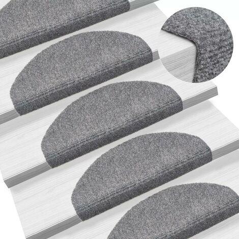 Hommoo 15 Self-adhesive Stair Mats Needle Punch 65x21x4 cm Light Grey