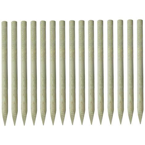 Hommoo 15x Postes puntiagudos de valla pino impregnado 4x150 cm