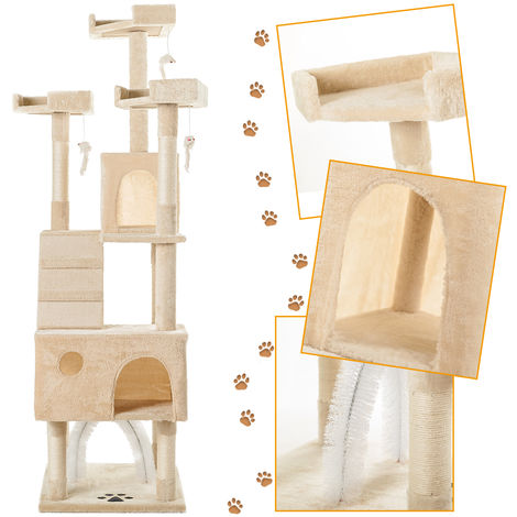 Hommoo 175cm Cat Tree Tower Activity Centre with Scratching Posts, Large Cat Climbing Tower Tree Furniture with Cat Arch / Toy Mice / Perches Platform / Condos(Beige)