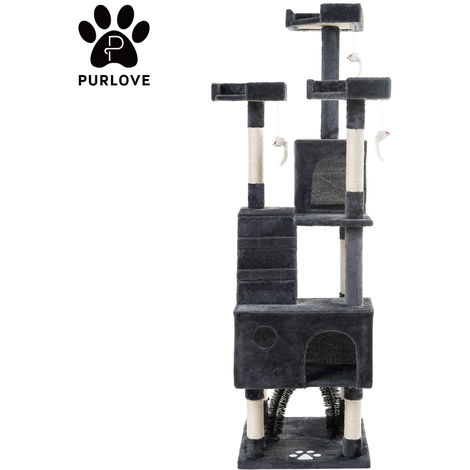 Hommoo 175cm Cat Tree Tower Activity Centre with Scratching Posts, Large Cat Climbing Tower Tree Furniture with Cat Arch / Toy Mice / Perches Platform / Condos£¨grey£©
