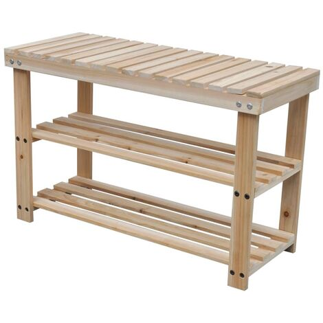 Hommoo 2-in-1 Shoe Rack with Bench Top 2 pcs Solid Wood QAH18929