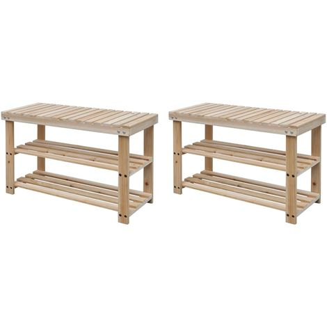 Hommoo 2-in-1 Shoe Rack with Bench Top 2 pcs Solid Wood VD18929