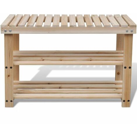 Hommoo 2-in-1 Shoe Rack with Bench Top Solid Fir Wood QAH08520