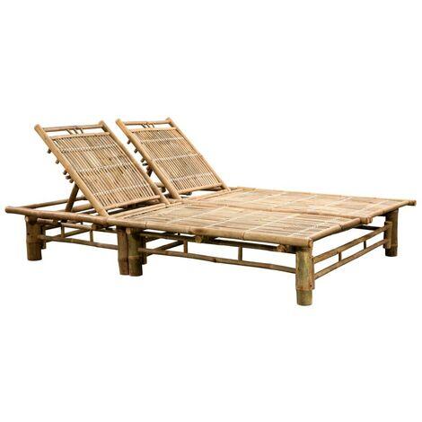 Hommoo 2-Person Sun Lounger Bamboo