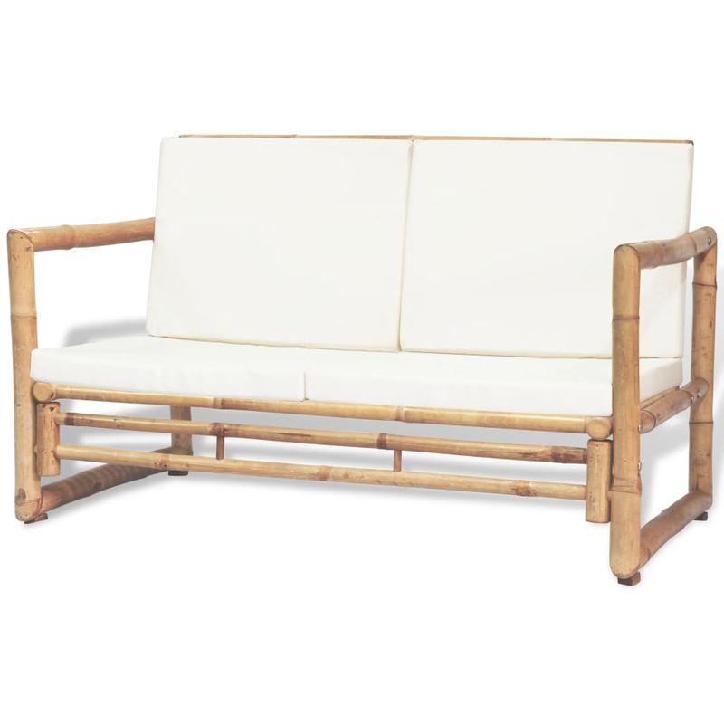 2-Sitzer Gartensofa mit Polstern Bambus VD27542 - Hommoo