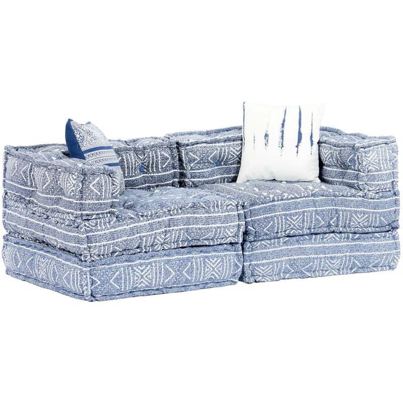 2-Sitzer Modulares Schlafsofa Indigo Stoff Patchwork VD14445 - Hommoo