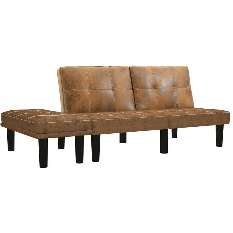 2-Sitzer-Sofa Braun Wildleder-Optik VD25061 - Hommoo