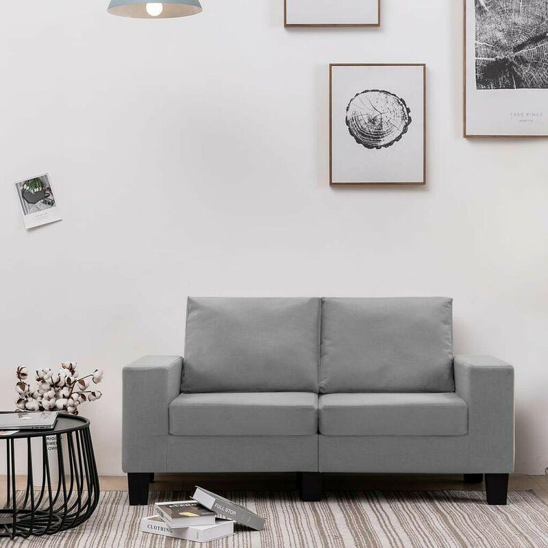 2-Sitzer-Sofa Hellgrau Stoff VD37159 - Hommoo