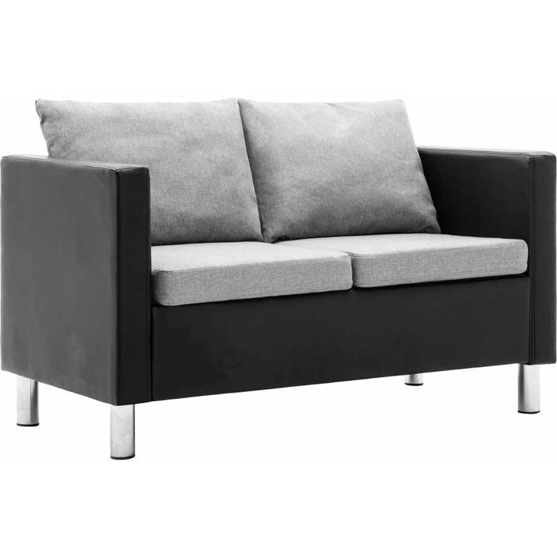 2-Sitzer-Sofa Kunstleder Schwarz und Hellgrau VD13079 - Hommoo