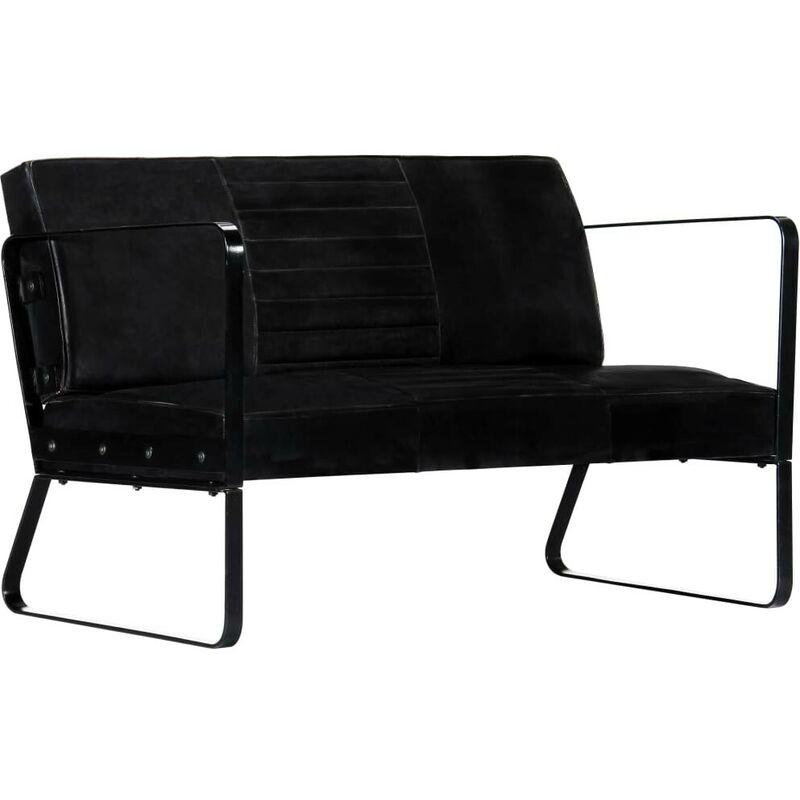 2-Sitzer-Sofa Schwarz Echtleder VD13506 - Hommoo
