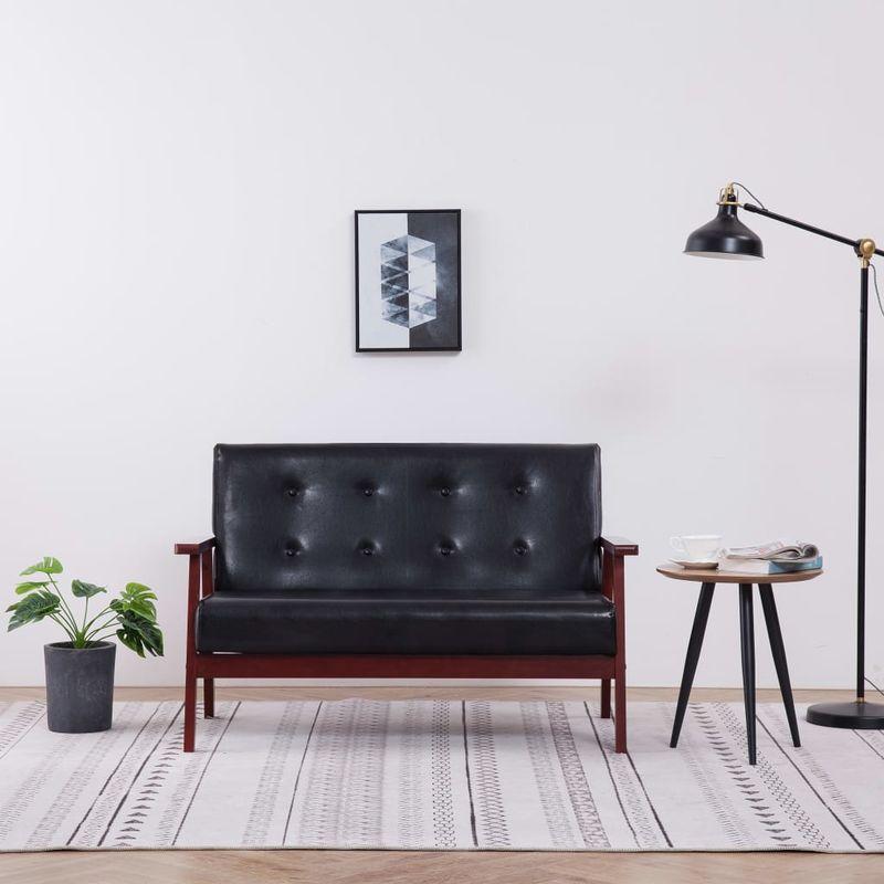 2-Sitzer-Sofa Schwarz Kunstleder VD14177 - Hommoo