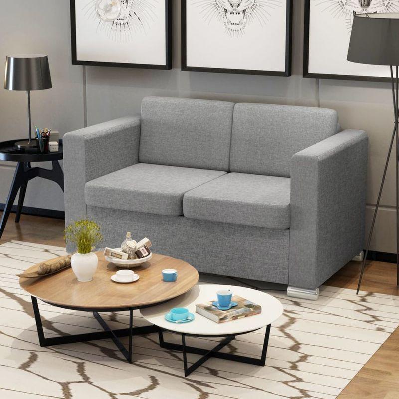 2-Sitzer Sofa Stoff Hellgrau VD09915 - Hommoo
