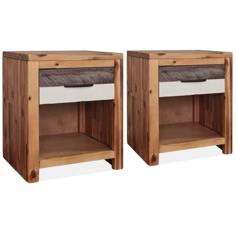 2 Stk. Nachttisch Massivholz Akazie 40 x 30 x 48 cm VD11983 - Hommoo