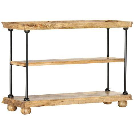 Hommoo 2-Tier Bookshelf 110x35x75 cm Solid Mango Wood and Steel VD36690