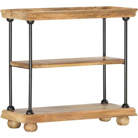 Hommoo 2-Tier Bookshelf 80x35x75 cm Solid Mango Wood and Steel VD36691