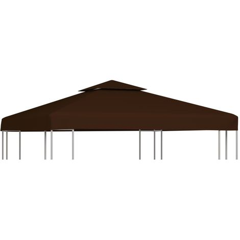 Hommoo 2-Tier Gazebo Top Cover 310 g/m2 3x3 m Brown VD30030