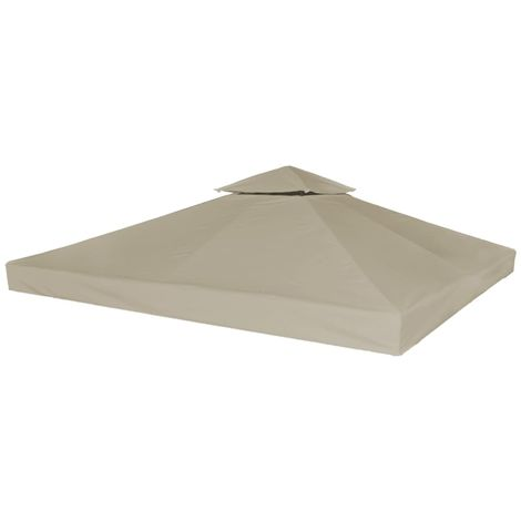 Hommoo 2-Tier Gazebo Top Cover 310 g/m2 3x3 m Taupe VD28944