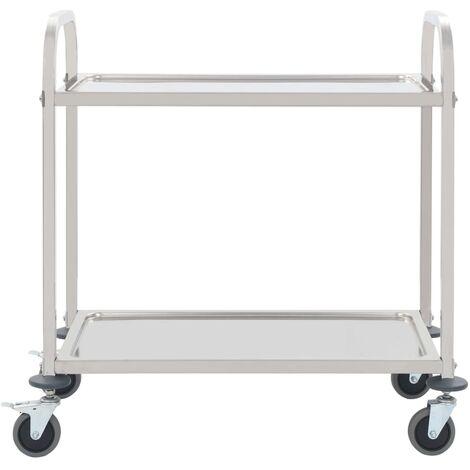 Hommoo 2-Tier Kitchen Trolley 107x55x90 cm Stainless Steel QAH30741