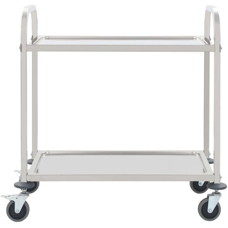 Hommoo 2-Tier Kitchen Trolley 87x45x83.5 cm Stainless Steel QAH30742