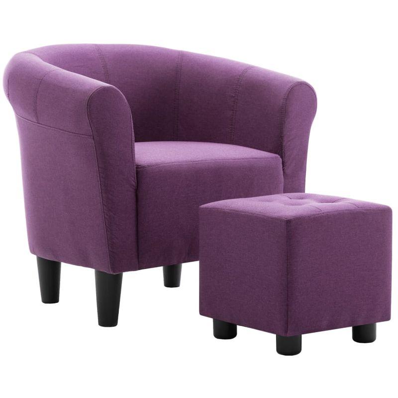 2-tlg. Sessel und Hocker Set Lila Stoff VD13878 - Hommoo
