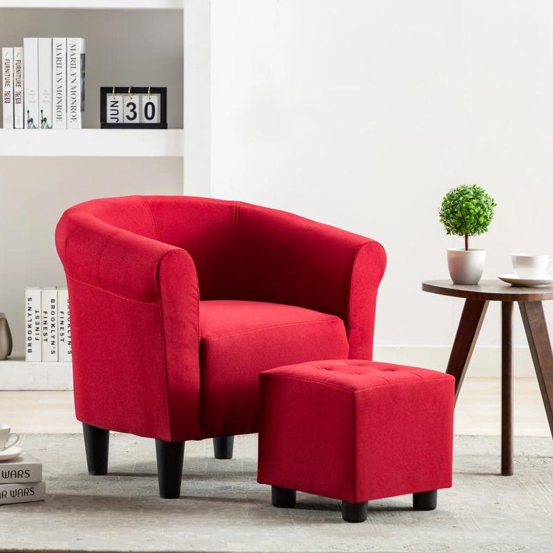 2-tlg. Sessel und Hocker Set Weinrot Stoff VD13872 - Hommoo