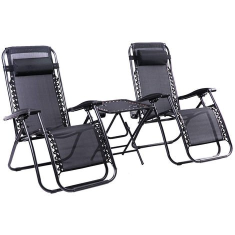 Hommoo 2 x Textoline Reclining Garden Chair Zero Gravity Chairs with Table Beach Sun Lounger Folding & Reclining Sun Loungers Recliner Chairs Weatherproof Textoline (Chair with Table)