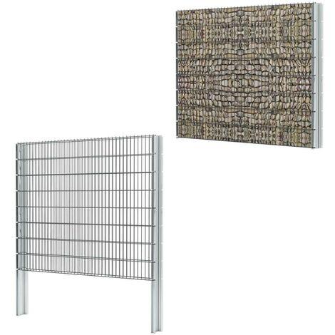 Hommoo 2D Gabion Fence Galvanised Steel 2008x1630 mm 2 m Grey VD17511