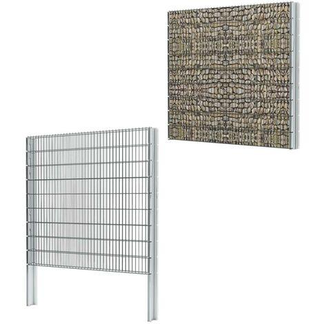 Hommoo 2D Gabion Fence Galvanised Steel 2008x1830 mm 2 m Grey