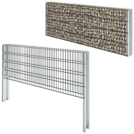 Hommoo 2D Gabion Fence Galvanised Steel 2008x830 mm 14 m Grey VD17437