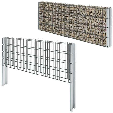 Hommoo 2D Gabion Fence Galvanised Steel 2008x830 mm 16 m Grey VD17438