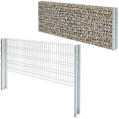 "main image of ""Hommoo 2D Gabion Fence Galvanised Steel 2008x830 mm 6 m Silver VD17443"""