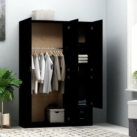 Hommoo 3-Door Wardrobe Black 120x50x180 cm Chipboard QAH47183