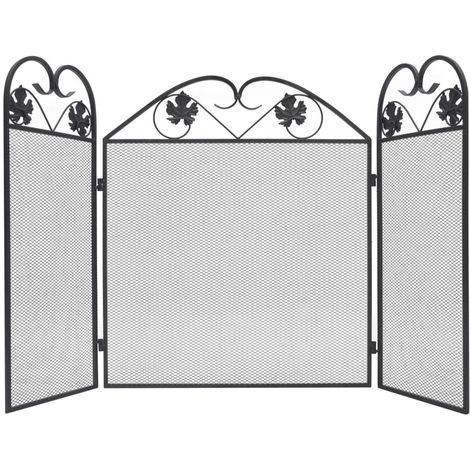 Hommoo 3-panel Fireplace Screen Iron Black VD09009
