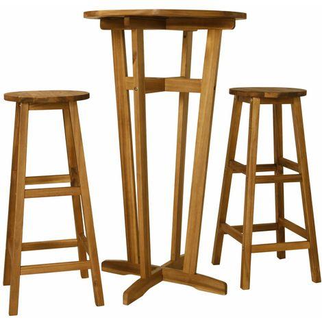 Hommoo 3 Piece Bar Set Solid Acacia Wood